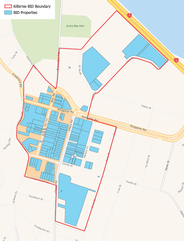 The Kilbirnie BID encompasses the main town centre on Bay and Onepu roads, as well as the businesses on Tacy and Kemp streets.