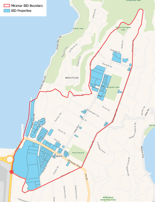 The Miramar BID area covers the business and industrial areas from the south sides of Miramar Ave, to Para St, Darlington Rd, Miramar North Rd and down the hill to Shelly Bay.